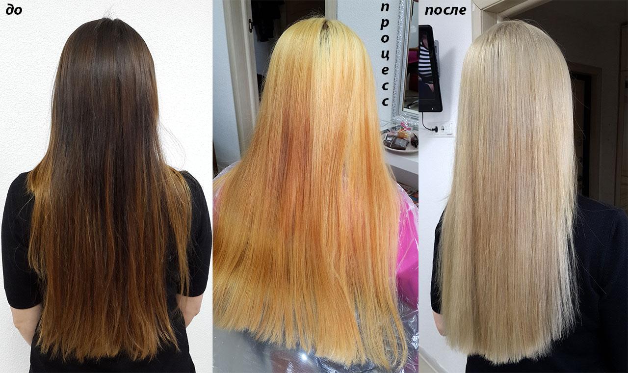 Окрашивание в светлый блонд с olaplex