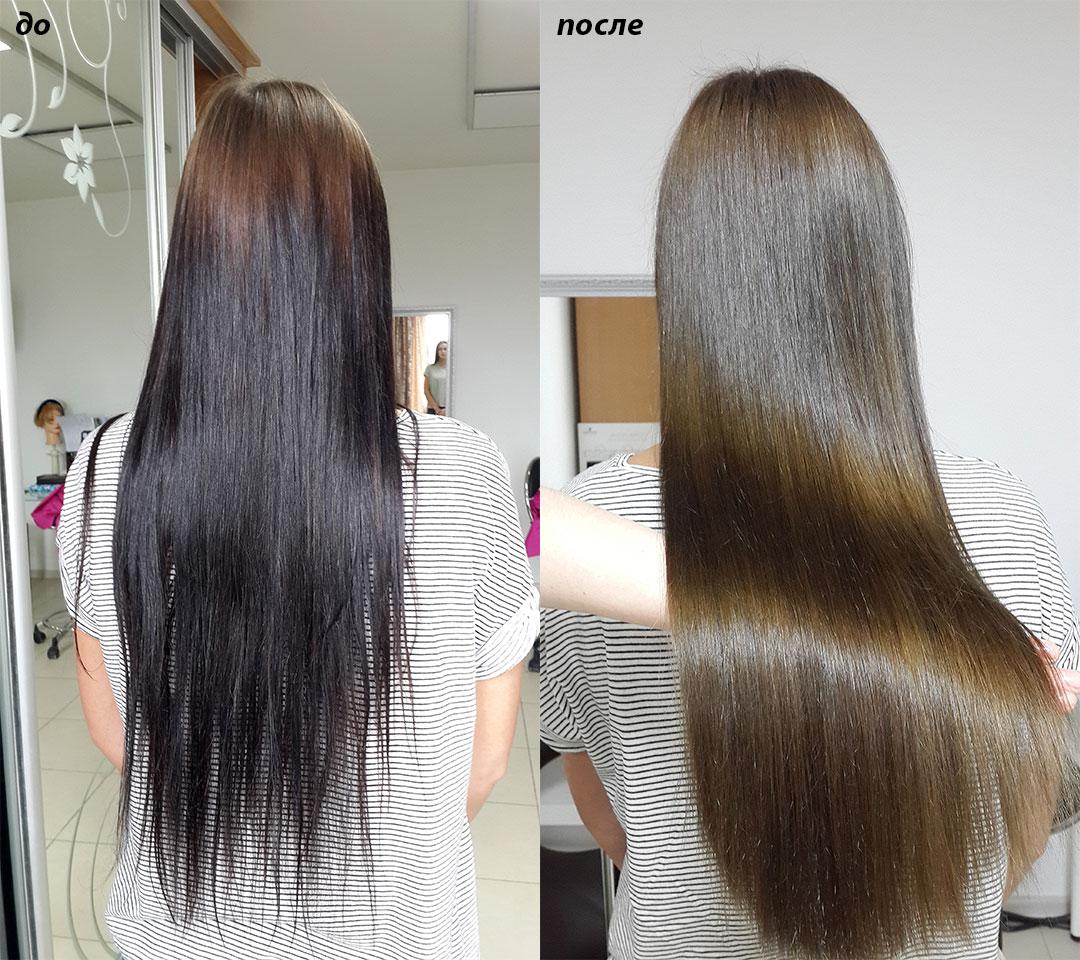 Выведение темного цвета волос с Olaplex смывка
