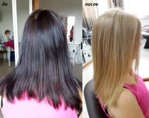 Окрашивание в светлый блонд из темного цвета волос с Олаплекс.