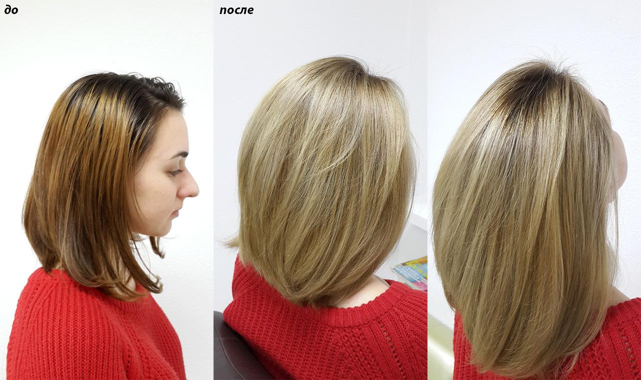 Шатуш блонд который плавно подходит к корням волос