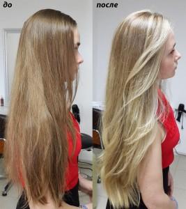 Балаяж и стрижка на длинные не крашенные волосы для Лизы.