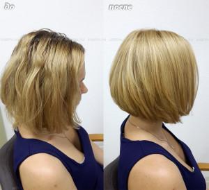 Стрижка. Окрашивание волос в золотистый теплый цвет.
