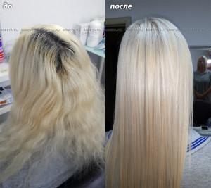Кератиновое выпрямление волос, окрашивание.