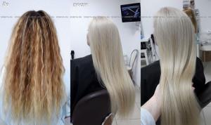 Окрашивание мелированых волос в однотонный светлый.