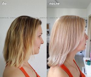Окрашивание мелированых волос в однотонный блонд