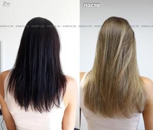 Окрашивание волос. Выведение из темного цвета.