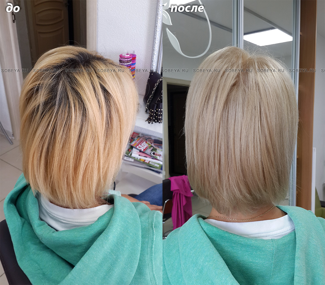 Окрашивание корней Бежевый блонд