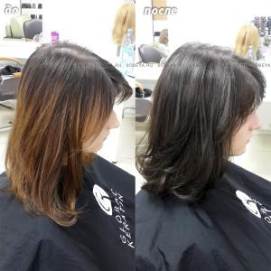 Окрашивание волос в натуральный цвет под свои корни.