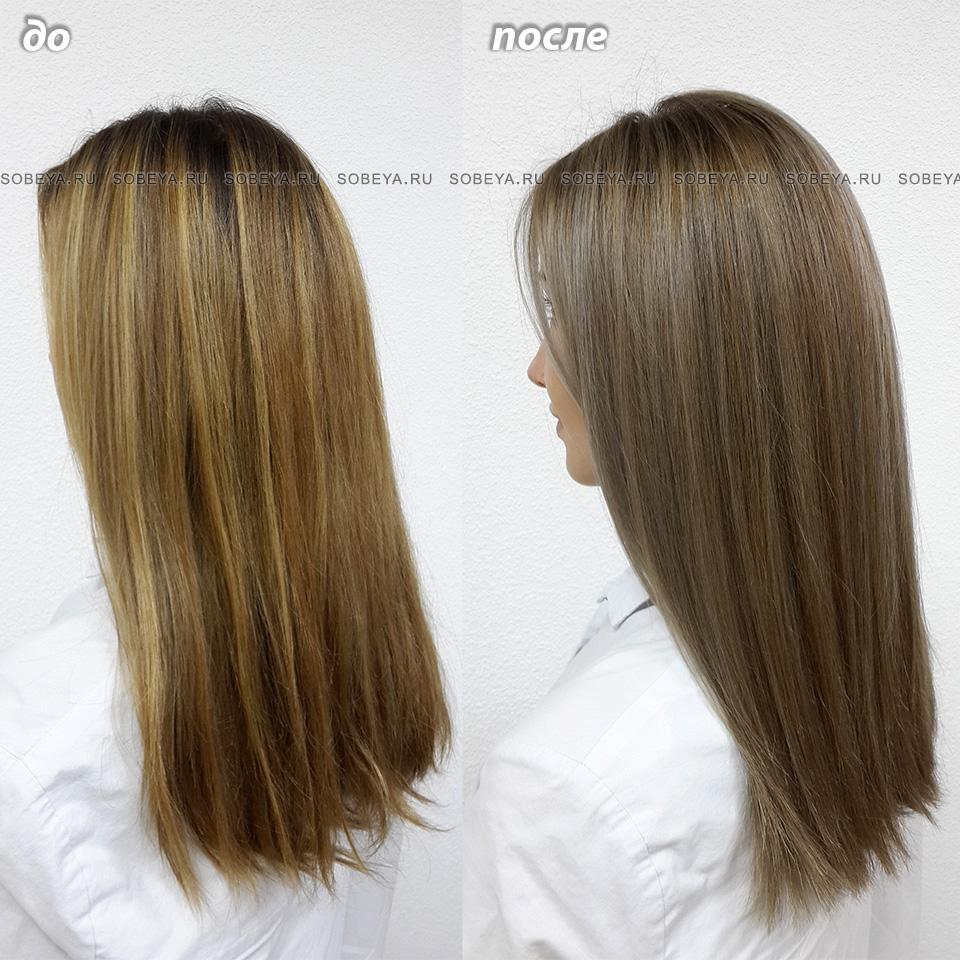 Окрашивание волос в холодный оттенок До и После
