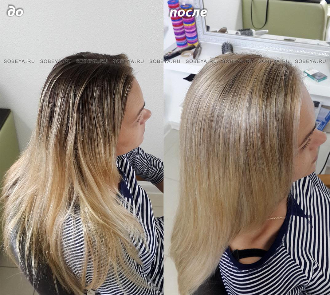 Окрашивание волос До и После Калифорнийским мелированием можно подкрасить корни