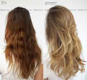 Омбре, стрижка на длинные волосы