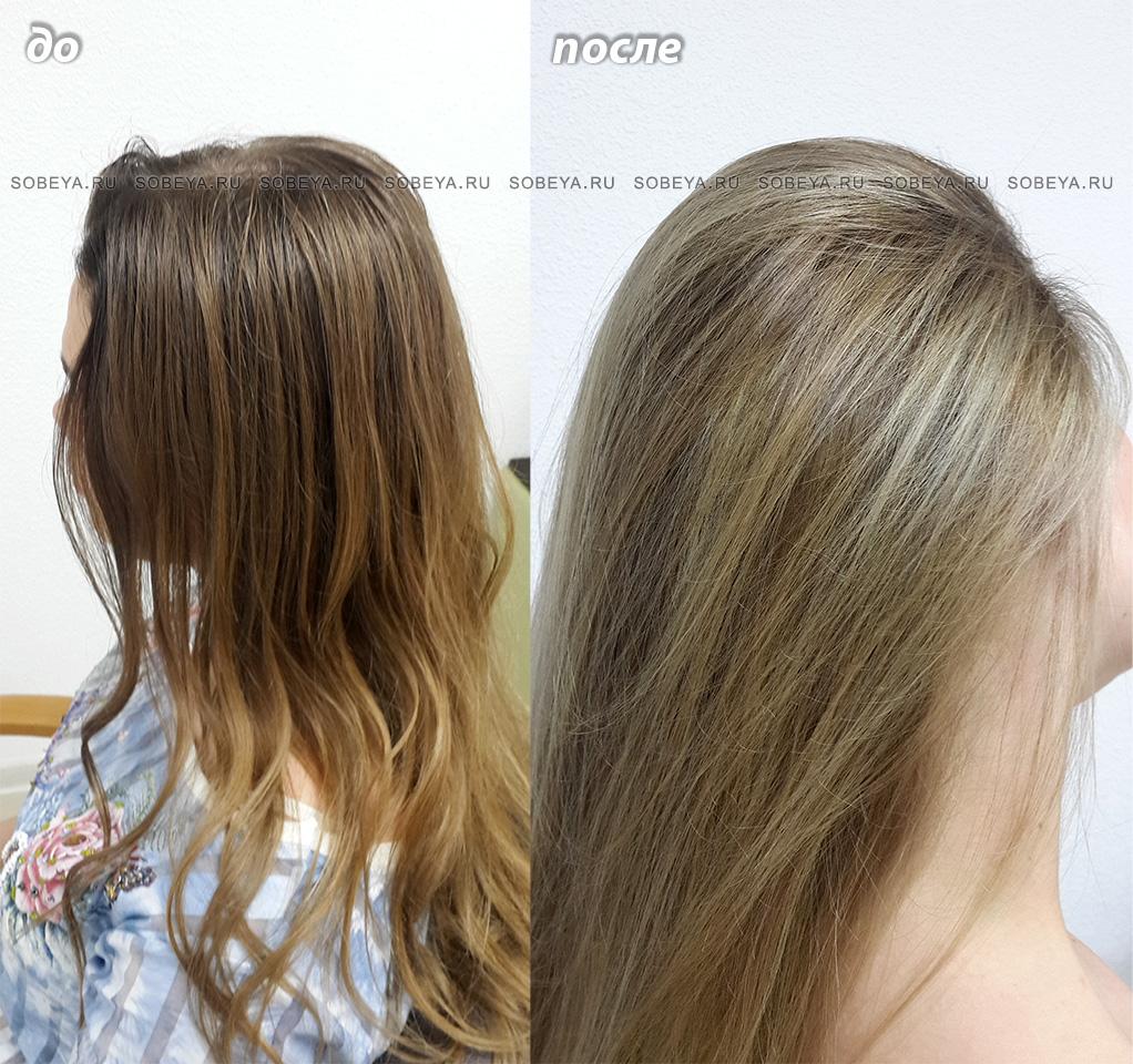 Окрашивание волос До и После Калифорнийское мелирование