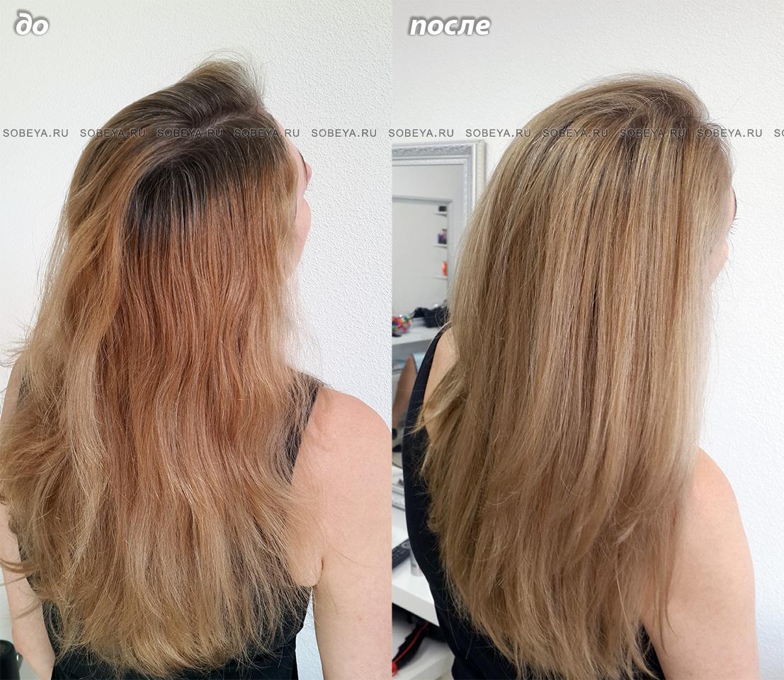 Окрашивание волос До и После Калифорническое мелирование Балаяж