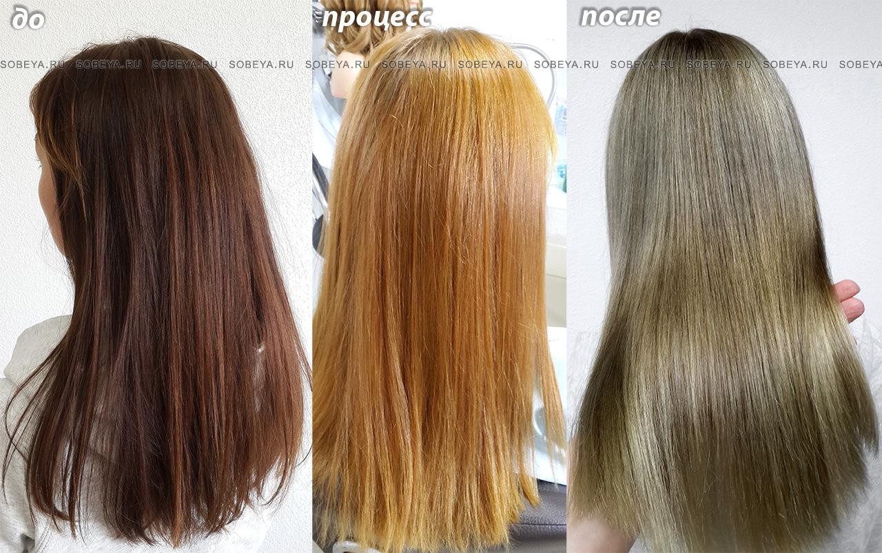 Окрашивание волос Из коричневого в русый по этапам