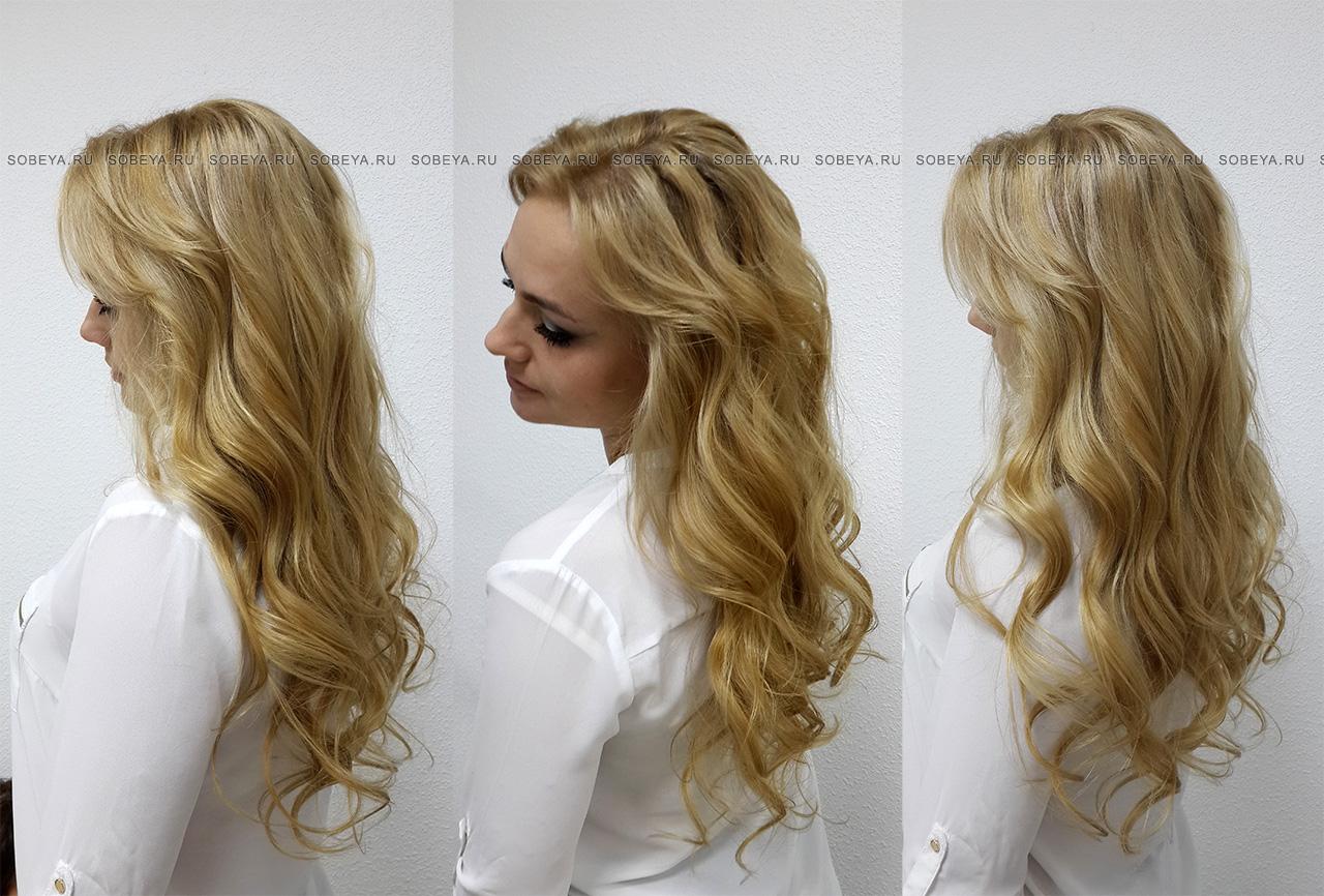 Окрашивание волос Балаяж Бежевый оттенок Локоны