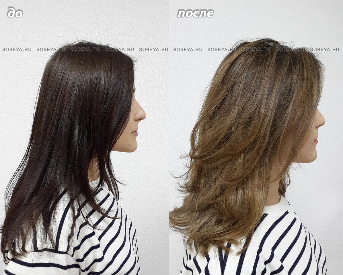 Мелирование на темные волосы Стрижка добавляющая объем прическе
