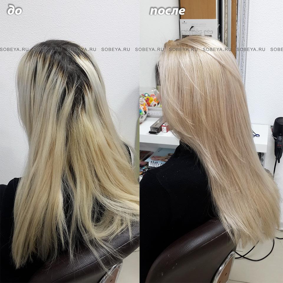 Окрашивание в светлый блонд.