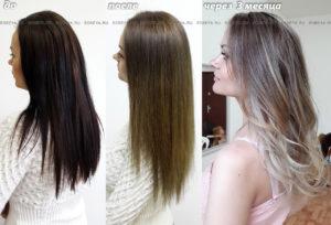 Окрашивание волос из черного в русый и Омбре