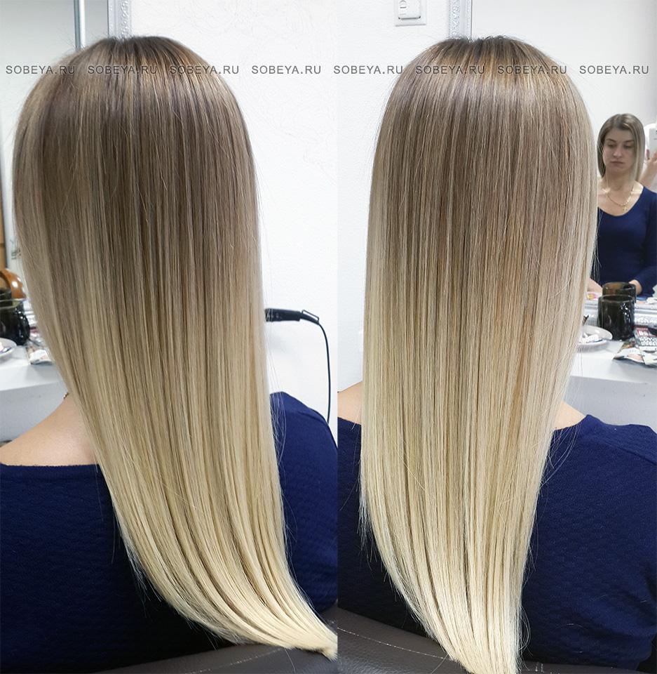 Растяжка цвета от глубоких корней до светлых концов волос и уход для волос Грейми