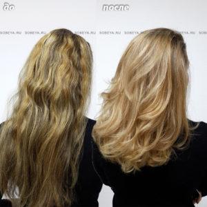 Шатуш золотисто-бежевый блонд и стрижка, придающая объем.
