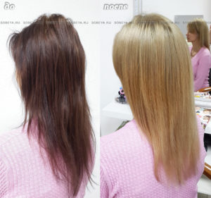 Осветление волос после бытовых красителей