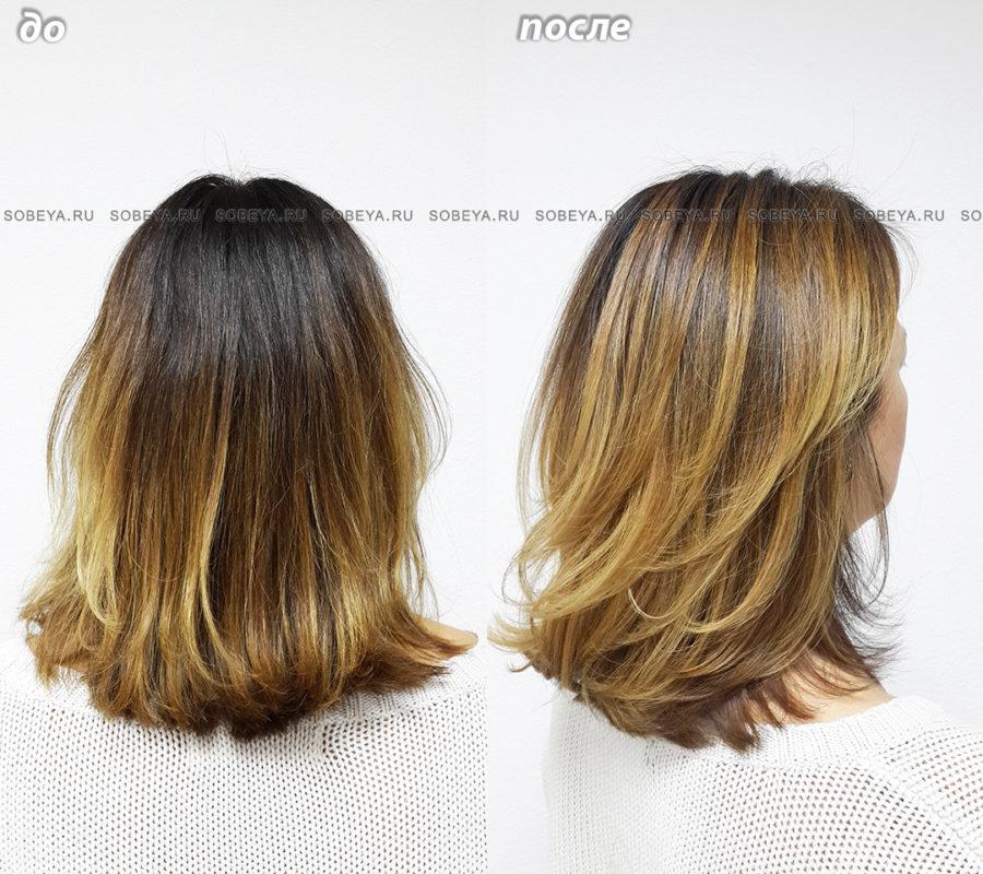 Окрашивание темных волос для объема