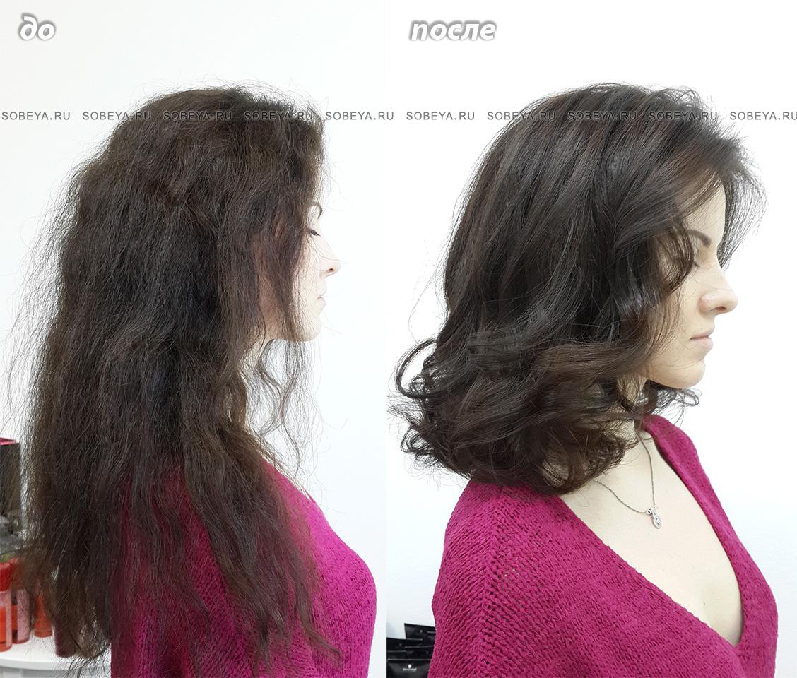 Стрижка на волосы средней длины с плотными концами и небольшой градуировкой