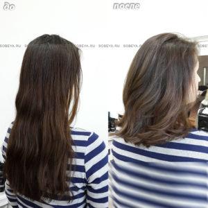 Стрижка на волосы средней длины. Окрашивание в один цвет.