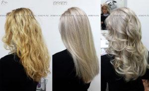 Окрашивание волос в светлый холодный блонд