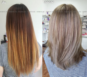 Окрашивание волос с предварительным этапом. Стрижка.