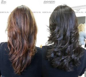 Окрашивание в холодный коричневый цвет. Стрижка на длинные волосы.