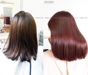Окрашивание волос в один темно-рыжий сочный цвет