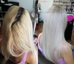 Окрашивание в очень светлый блонд, осветлили корни, придали тон волосам.