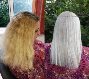Окрашивание волос в очень светлый холодный блонд!