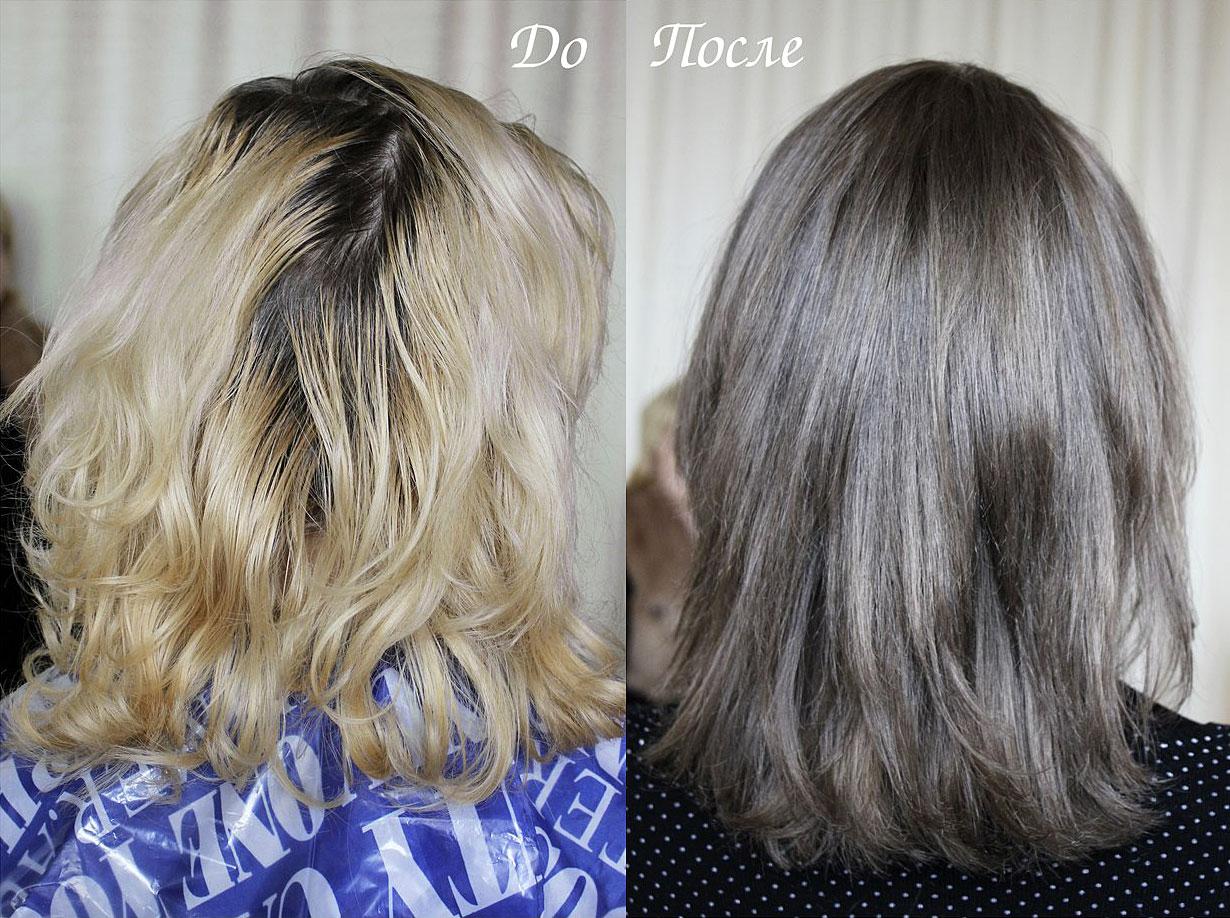 Окрашивание из блондинки в свой натуральный цвет волос