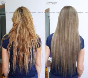 Окрашивание своих и нарощенных волос.