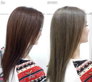Выведение цвета волос из коричневого с медным оттенком в натуральный русый