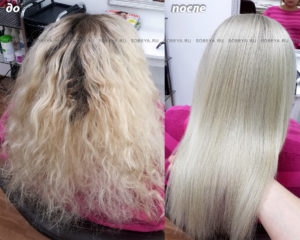 Окрашивание корней волос в очень светлый холодный блонд
