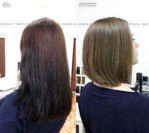 Исправление цвета волос — выведение темного Стрижка.