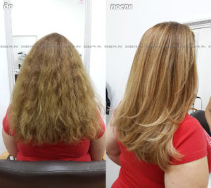 Стрижка на длинные волосы, балаяж в медовых тонах, укладка на брашинг