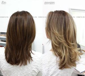 Балаяж, градуированная стрижка придает зрительно большую длину волосам.