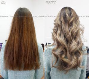 Шатуш на длинные волосы