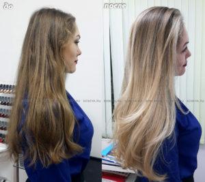 Омбре и Стрижка на натуральные длинные волосы.