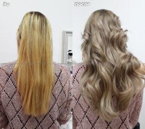 Окрашивание в один цвет холодный бежевый, укладка волос волнами.