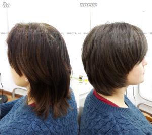 Короткая женская стрижка. Окрашивание волос в натуральный темный цвет.