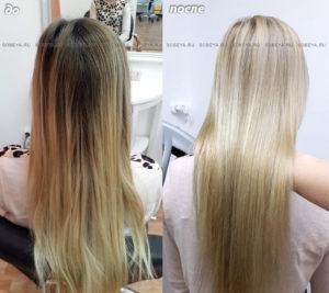 Окрашивание прикорневой части волос методом балаяжа