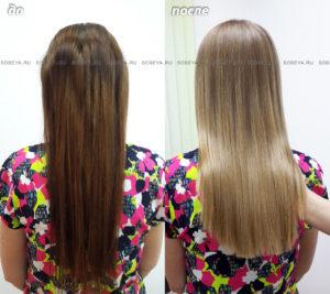 Окрашивание волос в натуральный теплый оттенок. Стрижка.
