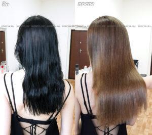 Выведение черного цвета волос в светло-коричневый