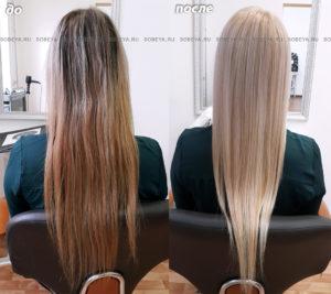 Окрашивание волос в очень светлый блонд.