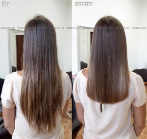 Плотным срезом подчеркнуть густоту волос.